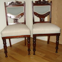 Pair of Mahogany Victorian reupholstered chairs