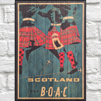 Travel poster Wood wall art Scotland retro travel print panel effect wood print