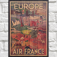Travel poster Wood wall art Europe retro travel print panel effect wood print
