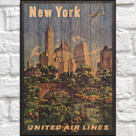 Travel poster Wood wall art New York retro travel print panel effect wood print