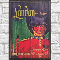 Travel poster Wood wall art London Vintage travel print panel effect wood print