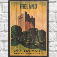 Travel poster Wood wall art Ireland Vintage travel print panel effect wood print