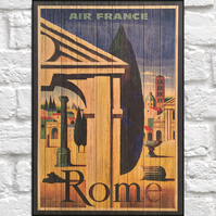Travel poster Wood wall art Rome retro travel print panel effect wood print