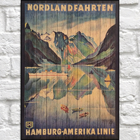 Travel poster Wood wall art Norway Vintage travel print panel effect wood print