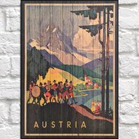 Travel poster Wood wall art Austria retro travel print panel effect wood print