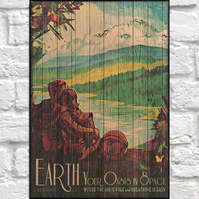 Travel poster Wood art Wood wall art decor Planet Eart Space retro travel poster