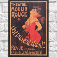 Moulin Rouge vintage poster Wood wall art Burlesque art panel effect wood print