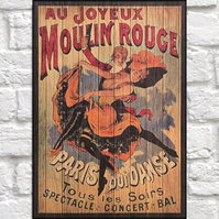 Moulin Rouge vintage poster Wood wall art Showgirl art panel effect wood print