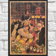 Moulin Rouge vintage poster Wood wall art Caberet art panel effect wood print