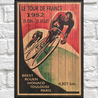 Tour De France vintage poster Wood wall art Bicycle art panel effect wood print