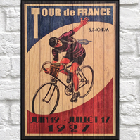 Tour De France vintage poster Wood wall art cycling art panel effect wood print
