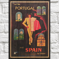Travel poster Wood wall art Portugal retro travel print panel effect wood print