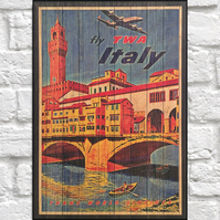 Italy Travel poster Wood wall art Vintage travel print panel effect wood print