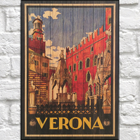 Verona Travel poster Wood wall art Vintage travel print panel effect wood print