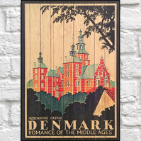 Denmark Travel poster Wood wall art Retro travel print panel effect wood print