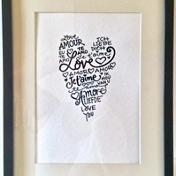 Love Heart in Black Chinese Ink Original