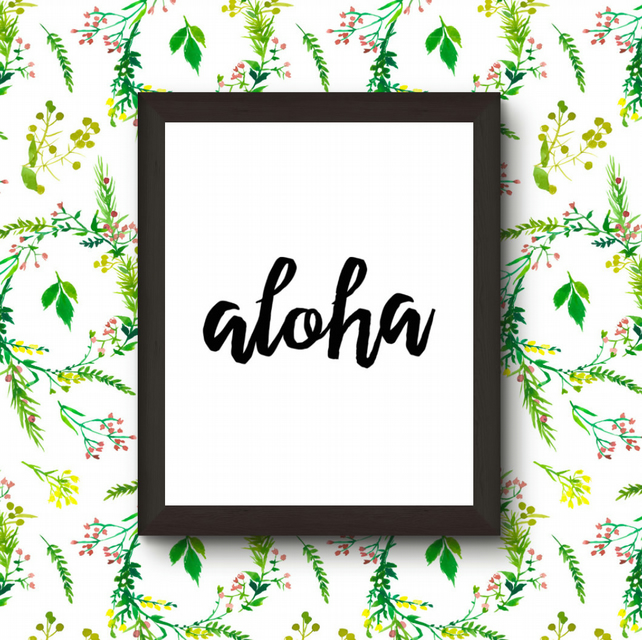 """Aloha "" in Black Chinese Ink Original"