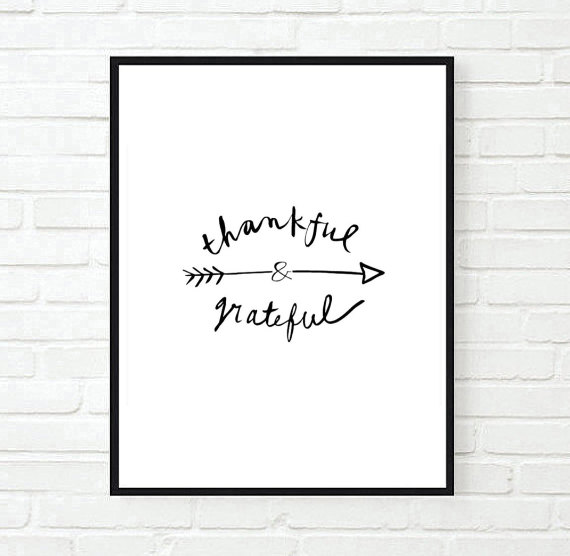 """ Thankful and Grateful "" in Black Ink Original"