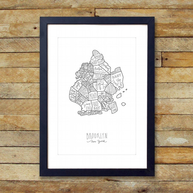 Brooklyn map  in Chinese Ink Original
