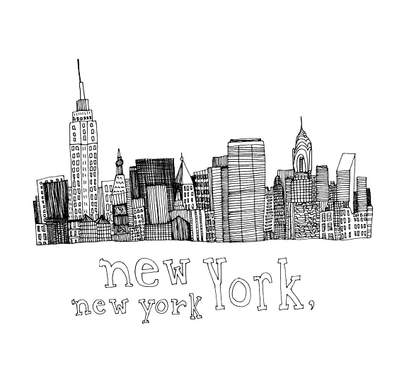 New York Skyline Chinese Ink Original