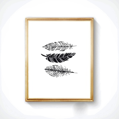 Feathers in black ink - Handmade