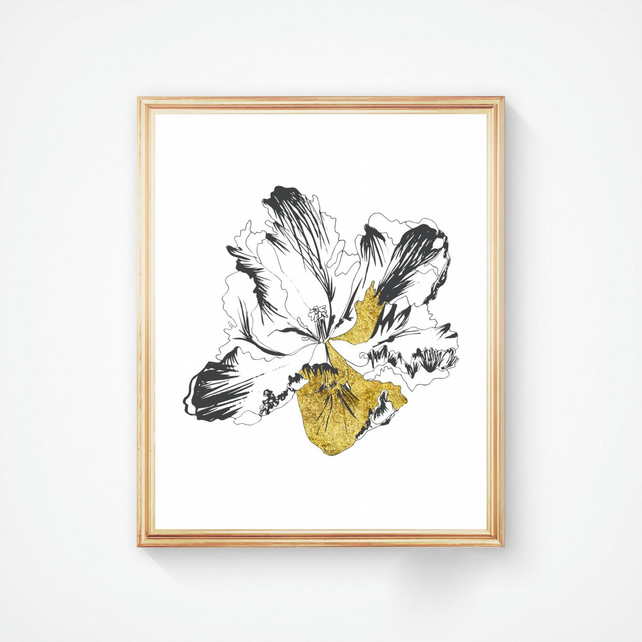 Parrot Tulip in Black and Gold Ink - Handmade