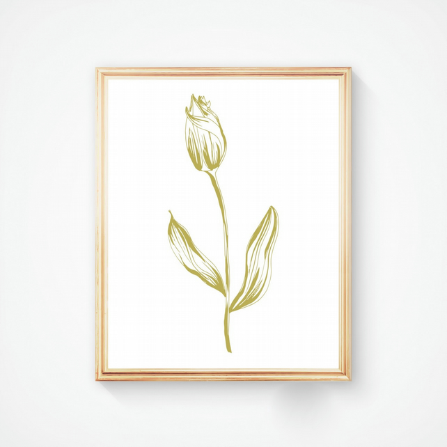 Tulip in Gold Ink - Handmade