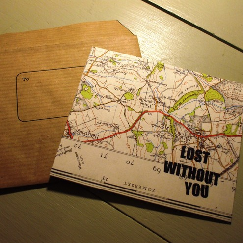 'Lost Without You' quirky vintage map card