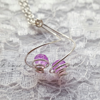 Necklace Pink Silver Plated Spiral Necklace