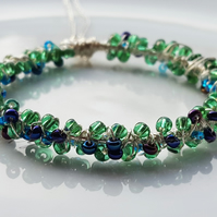 Necklace Green And Blue Seed Bead Wire Wrapped Pendant