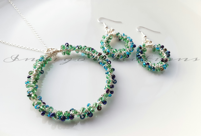 Necklace And Earring Set Green And Blue Seed Bead Wire Wrapped Set