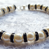 Bracelet Ivory Glass Pearl And Black Rhinestone Crystal Silver Plated Bead