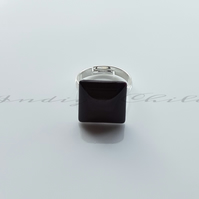 Ring Adjustable Chocolate Brown Square Glass Cabochon Ring