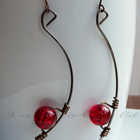 Earring Bronze Memory Wire Earrings With Red Crackle Glass Bead