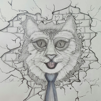 Art Drawing Cat In The Wall Drawing