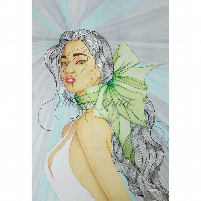 Art Drawing Green Bow Drawing