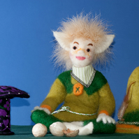Pixie,  Elf, Needle Felted, One Of A Kind, Hand Made