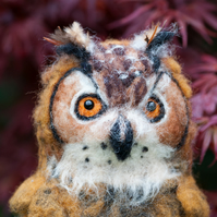 Eagle Owl, Needle Felted, One Of A Kind