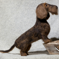Needle Felted Dachshund - One Of A Kind - Hand Made
