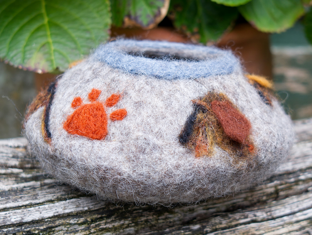 Dachshund Bowl - One Of A Kind, Wet Felted Bowl