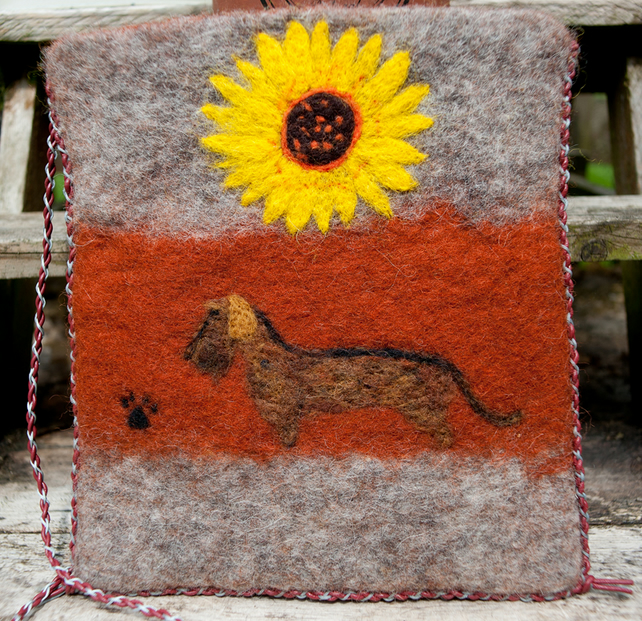 Wet Felted Shoulder Bag, Dachshund, Flowers, One Of A Kind Bag
