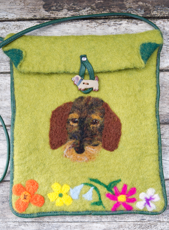 Wet Felted Bag, Dachshund, Flowers, Unique, One of A Kind, Wire Haired Dachshund
