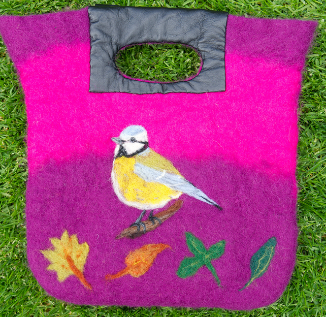 Handbag, Wet Felted Bag, Designer Bag, Felted Bag, Decorated bag, Gift
