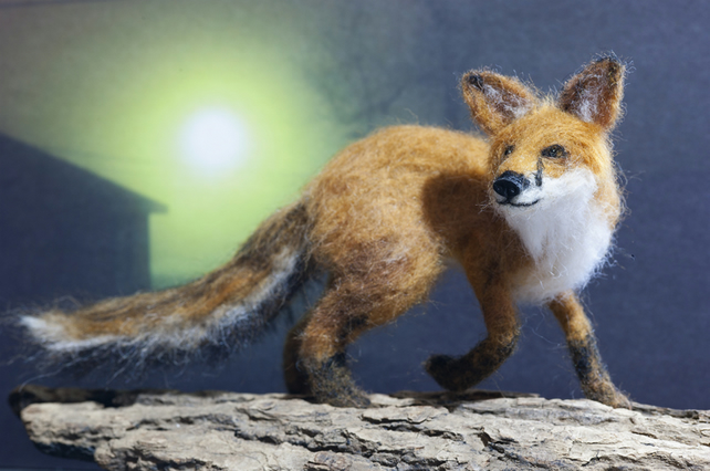 Fox - needle felted animal, faux taxidermy, one of a kind