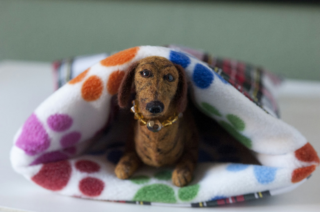 Brindle Miniature Smooth Haired Dachshund - Needle Felted Sculpture