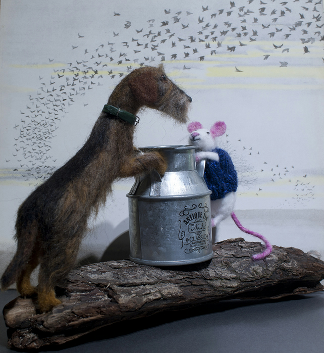 Needle Felted Mouse and Dachshund - now sold, example only