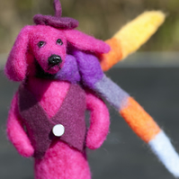 A needle felted Dachshund - Mr Pink