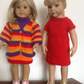"Dolls clothes knitting pattern.18"" doll.Coat of many colours and matching dress."