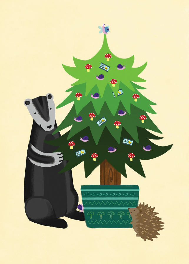 Woodland christmas card badger and hedgehog folksy for Badger christmas decoration