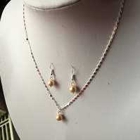 Handmade Shell Pearl and Sterling Silver Pendant with Matching Earrings